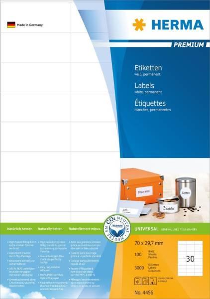 4456 Etiketten Premium A4, weiß 70x29,7 mm Papier matt 3000 St