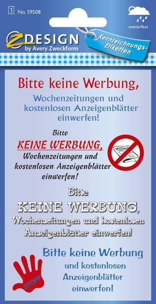 """59508 Home Hinweis Etikett """"Keine Werbung"""", Kunststoff, 1 Bogen 4 Etiketten"""