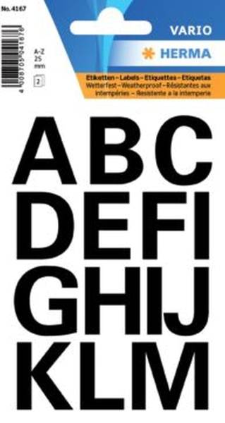 4167 Buchstaben 25 mm A Z wetterfest Folie schwarz 2 Bl