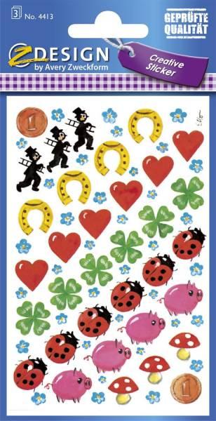 Z Design 4413, Deko Sticker, Glücksbringer, 3 Bogen 102 Sticker