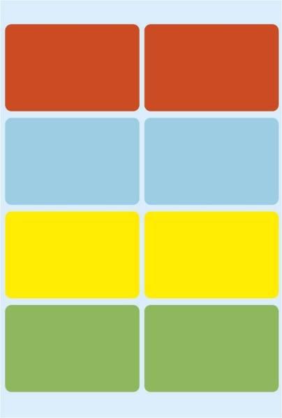 3681 Vielzwecketiketten farbig sortiert 26x40 mm Papier matt 40 St