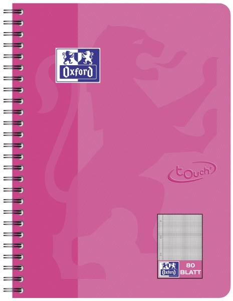 Collegeblock Touch B5, 80 Blatt, 90 g qm, kariert, rosa