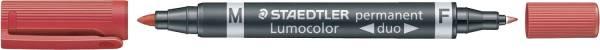 Permanentmarker Lumocolor duo nachfüllbar, 0,6 mm und 1,5 mm, rot®