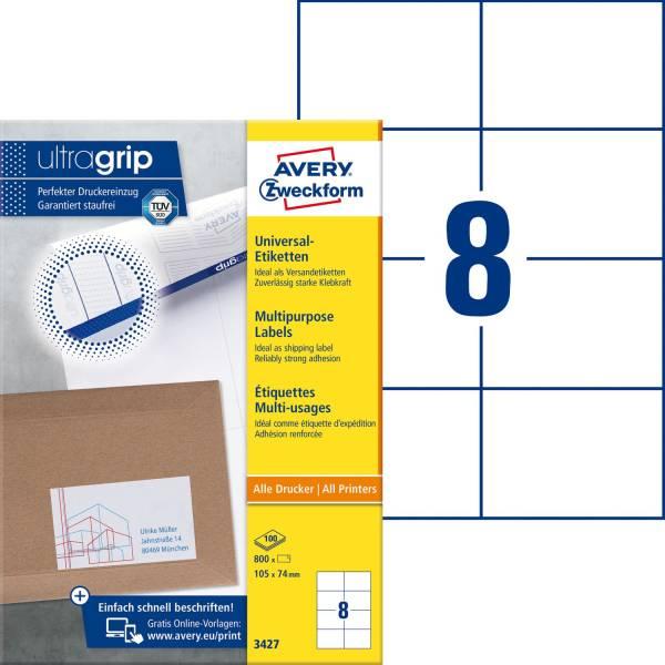 3427 Universal Etiketten (A4, Papier matt, 800 Etiketten, 105 x 74 mm) 100 Blatt weiß