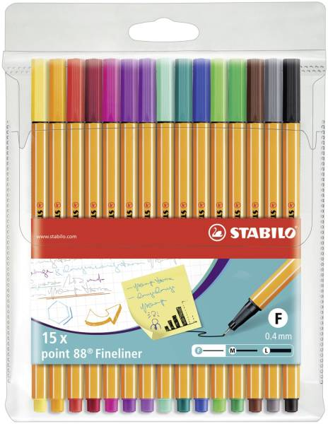 Fineliner point 88 Etui, mit 15 Stiften®