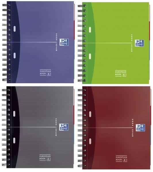 Office European Book A4+, 5mm kariert, 120 Blatt, sortiert