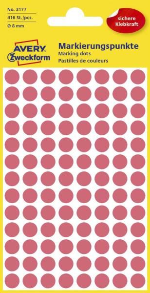 3177 Markierungspunkte Ø 8 mm, 4 Blatt 416 Etiketten, leuchtrot