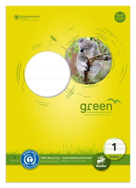 STAUFEN GREEN Arbeitsblock A4 50Bl Lin1 fbg. 040745001 80g
