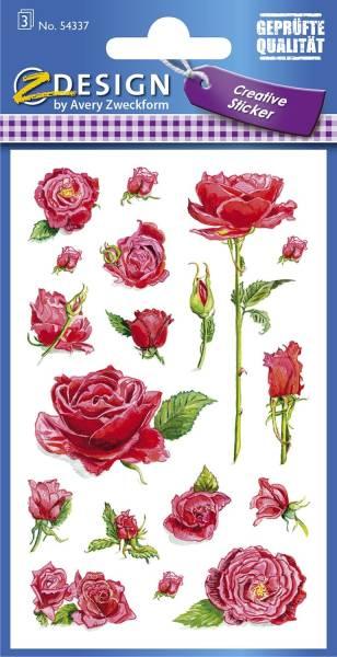 Z Design 54337, Deko Sticker, Rosen, 3 Bogen 54 Sticker