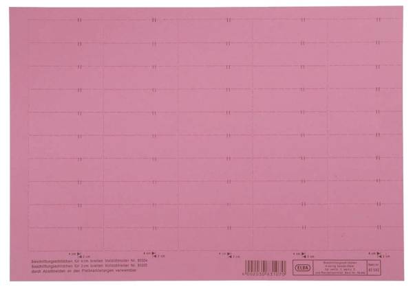 vertic Beschriftungsschild für Registratur, 58 x 18 mm, rot, 50 Stück®