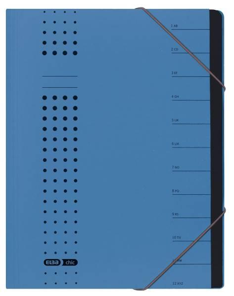Ordnungsmappe chic, Karton (RC), 450 g qm, A4, 12 Fächer, blau
