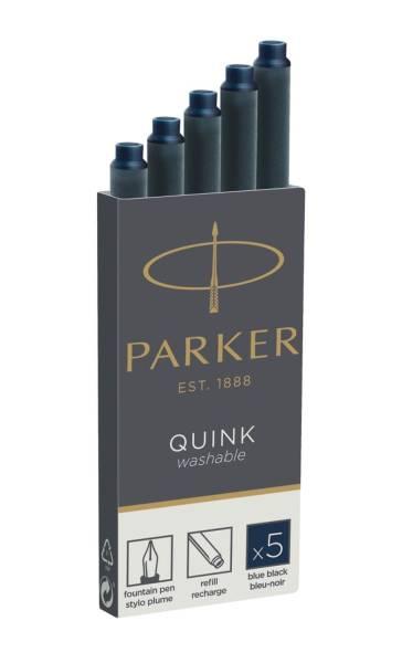Tinte für Füllhalter Quink Tintenpatrone, schwarz blau, 5 Patronen