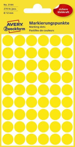 AVERY ZWECKFORM Etiketten Ø12 mm gelb 270 Stück 3144