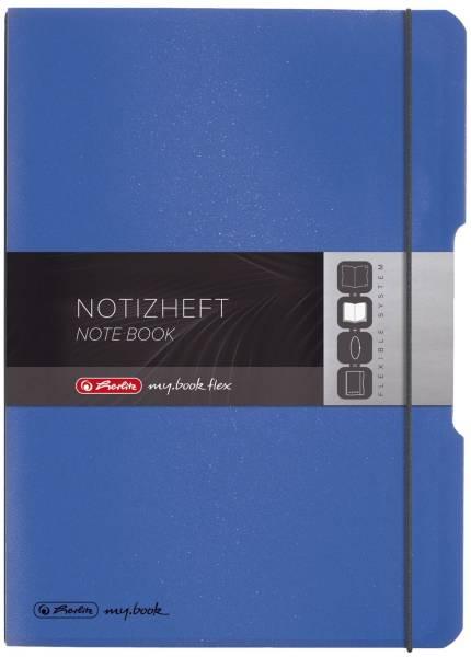 Notizheft flex PP A4, liniert kariert, 2x 40 Blatt, blau