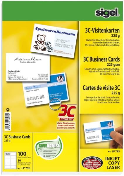 SIGEL Visitenkarte 3C hochweiß 100 Karten LP795 Format 85x55mm 225g