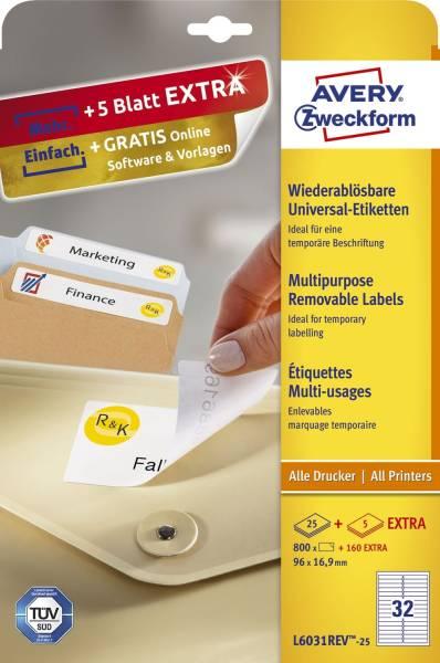 L6031REV 25 Universal Etiketten, 96 x 16,9 mm, 30 Bogen 960 Etiketten, weiß