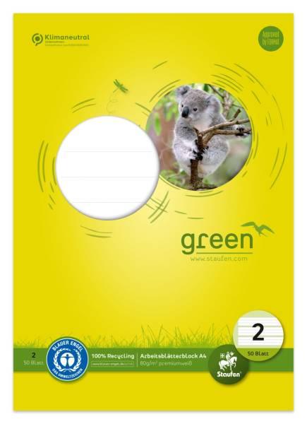 STAUFEN GREEN Arbeitsblock A4 50Bl Lin2 fbg. 040745002 80g