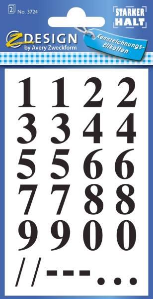AVERY ZWECKFORM Zahlenetikett 0-9 Folie schwarz 40 Stück 3724