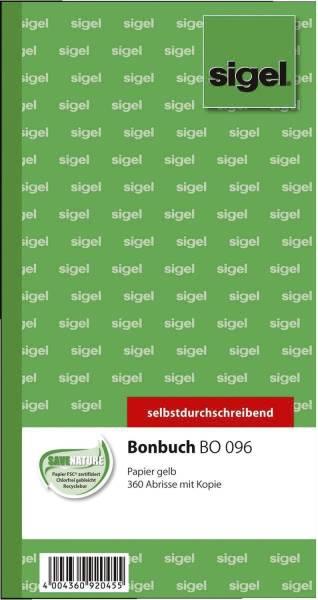 Bonbuch o Kellner Nr , 360 Abrisse, SD, gelb, 105x200 mm, 2 x 60 Blatt