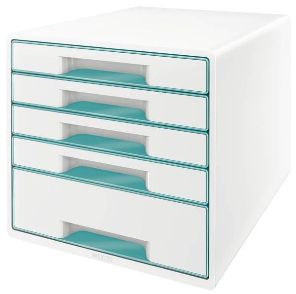 LEITZ Schubladenbox WOW CUBE eisblau metallic 5214-20-51 5 Schubladen