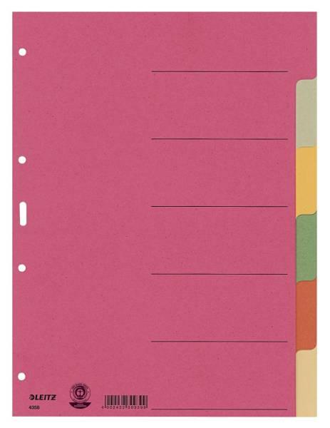 4358 Register Karton, blanko, A4, 6 Blatt, farbig