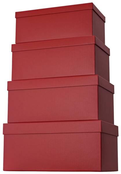Geschenkkarton 4 tlg , hoch, dunkelrot