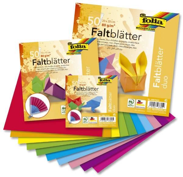 """Faltblätter """"Duo"""" 50 Blatt, 10 Farben sortiert, 80g, 15x15cm"""