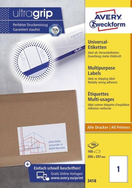 3418 Universal Etiketten 200 x 297 mm, weiß, 100 Etiketten 100 Blatt, permanent