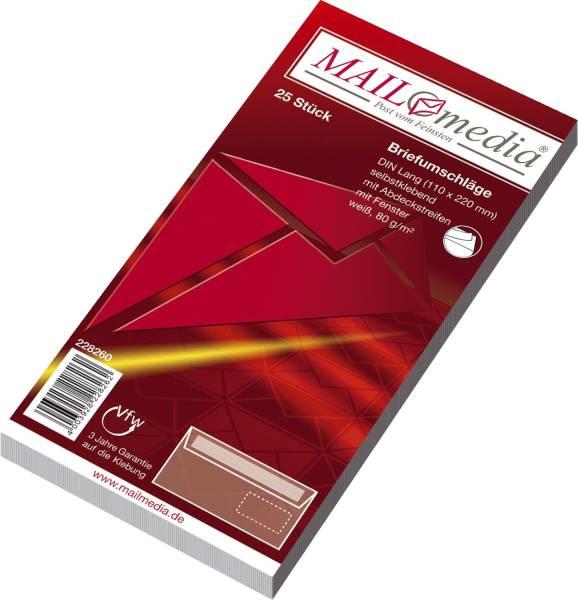 Briefumschläge DIN lang (220x110 mm), mit Fenster, haftklebend, 80 g qm, 25 Stück