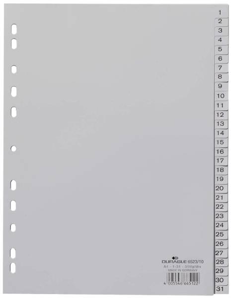 Zahlenregister PP, 1 31, grau, A4, 31 Blatt