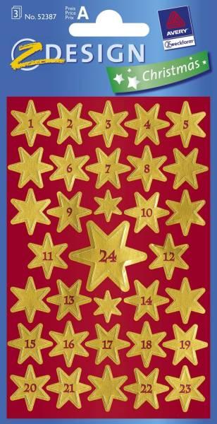 AVERY ZWECKFORM Weihn.Schmucketikett Sterne gold 52809
