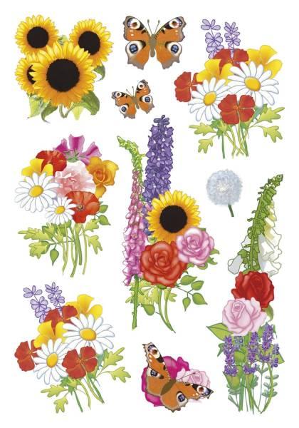 HERMA Schmucketikett moderne Blumen 30 Stück 3369 Decorsticker