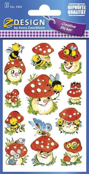 Z Design 4304, Deko Sticker, Fliegenpilze, 3 Bogen 33 Sticker