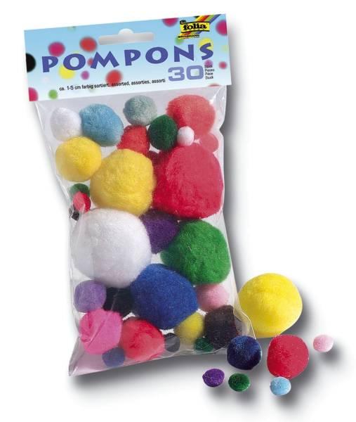 Pompons Ø 1 5 cm, farbig sortiert, 30 Stück