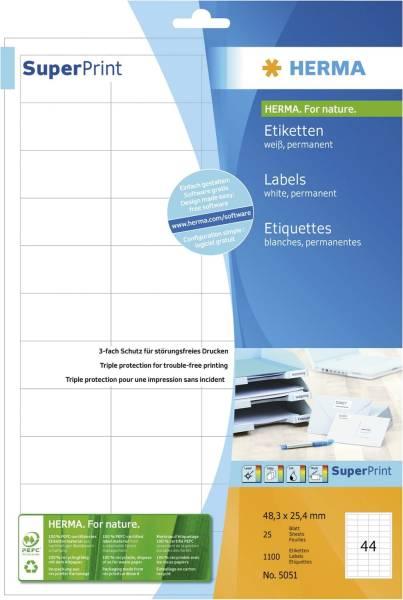 5051 Etiketten Premium A4, weiß 48,3x25,4 mm Papier matt 1100 St