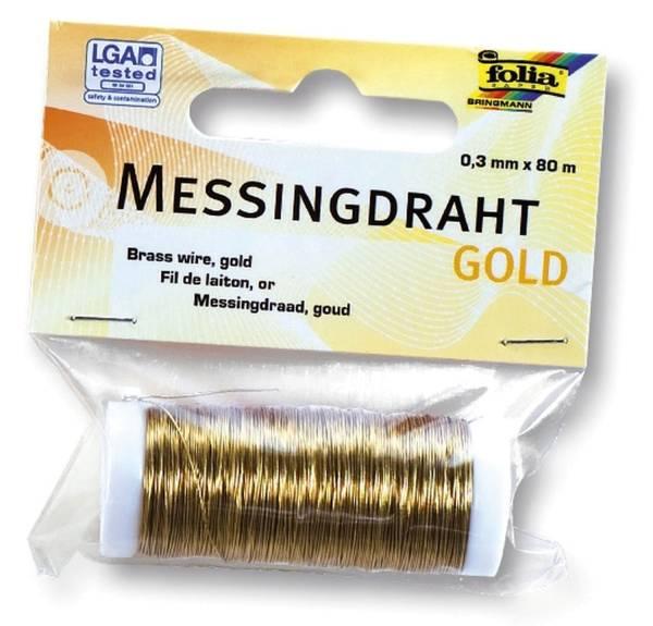 Basteldraht 0,3 mm, Messing goldfarben