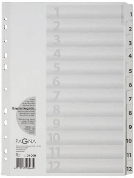 Zahlenregister 1 12, Karton, A4, 12 Blatt, weiß