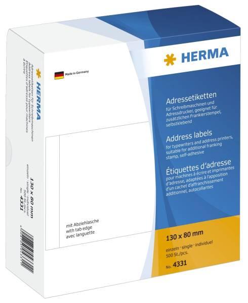 4331 Adress Etiketten einzeln mit Abziehlasche, 130 x 80 mm, selbstklebend, 500 Stück
