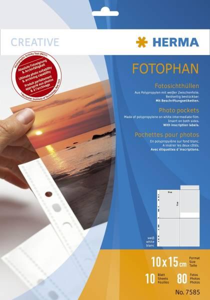 HERMA Sichthülle Fotophan 10x15 cm hoch weiß 7585 10 Stück