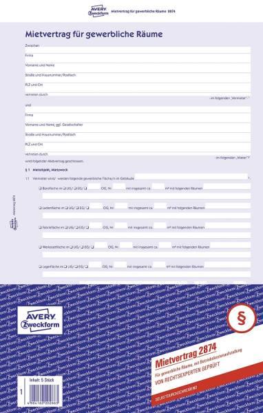 2874 Mietvertrag gewerbliche Räume, DIN A4, selbstdurchschreibend, 1 Pack = 5 Stück, blau
