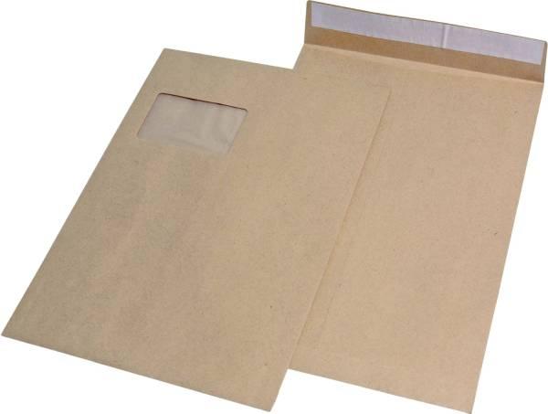 Faltentaschen C4, mit Fenster, mit 20 mm Falte, 120 g qm, braun, 100 Stück