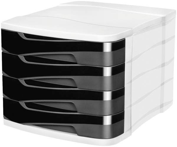 Schubladenbox Ellypse A4, 4 halboffene Schubladen, schwarz