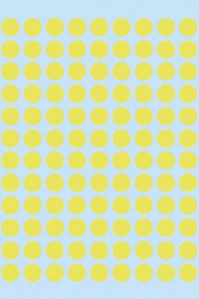 1834 Vielzwecketiketten gelb Ø 8 mm rund Papier matt 540 St