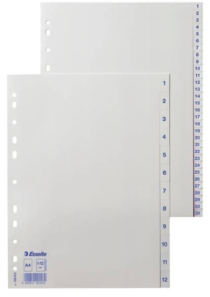 ESSELTE Register A4 1-12 weiß 100153 Plastik 12tlg.