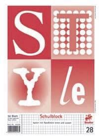 Schulblock PREMIUM Academy, geleimt, 4fach gel , 90g, A4, raut m Randlinien, 50Blatt