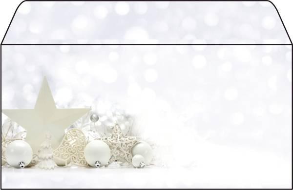 """Weihnachts Umschlag """"White Stars"""" DIN lang (110x220 mm), 25 Umschläge®"""
