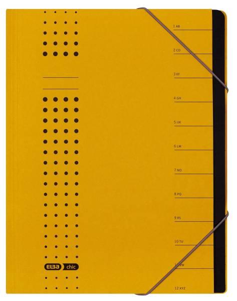 Ordnungsmappe chic, Karton (RC), 450 g qm, A4, 12 Fächer, gelb