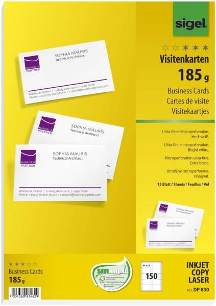 Visitenkarten, microperforiert, 185 g qm, hochweiß, 150 Stück