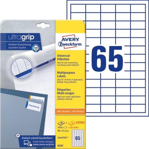 6121 Universal Etiketten, 38 x 21,2 mm, 30 Bogen 1 950 Etiketten, weiß