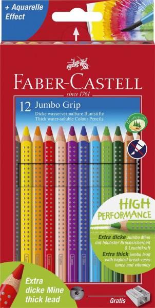 Buntstift Jumbo GRIP 12 Farben sortiert und Spitzer, Kartonetui